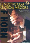 15 MOST POPULAR CLASSICAL MELODIES + CD / lesní roh (f horn)